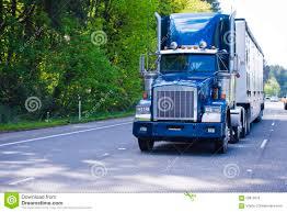 dark blue classic monster big rig semi truck trailer chrome