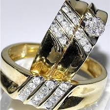 wedding ring trio sets set his and wedding rings 0 4ct 10k yellow gold 3