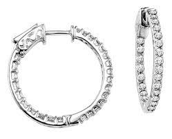 white gold diamond hoop earrings carat diamond hoop earrings in 14k white gold