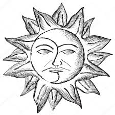 sketch of sun and moon face u2014 stock vector pizla09 54872065