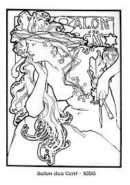 alphonse mucha art coloring pages arte desenho ornamental