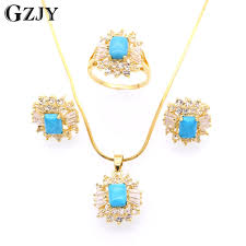 necklace set blue stone images Gzjy fashion charming blue stone aaa zircon gold color earrings jpg