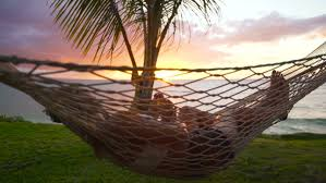 romantic couple relaxing in tropical hammock at sunset summer