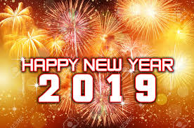 Happy New Year 2019 With Colorful Fireworks Stock Photo Picture And