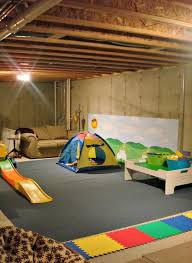 Unfinished Basement Floor Ideas Unfinished Basement Playroom Ideas