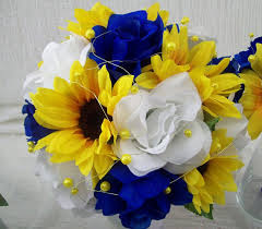 wedding flowers royal blue royal blue and yellow wedding flowers bridal bouquet wedding