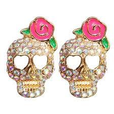 mr t earrings rhinestone skull pink flower stud earrings for women