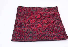 cross stitch pillow cover geometrical red and black cushion