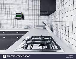 modern kitchen stoves modern kitchen worktop with gas stove interior 3d render stock