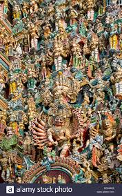 colourful statues of gods and demons on the gopuram or gopura gate