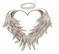heart with angel wings tattoo instead of black in white ink