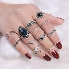 ring set silver vintage moon finger cuff ring set rosegal