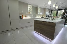 kitchen island floating effect with led strip lighting under all