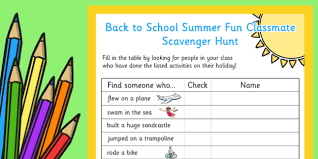 how to find a classmate to school summer classmate scavenger hunt scavenger