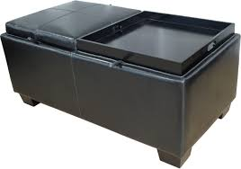 furniture rectangle black leather opttoman coffee table with