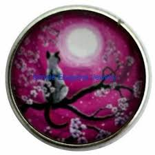 cat and moon snap charm 20mm for snap jewelry 1173