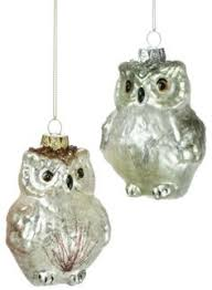 8 whimsical white feather covered standing owl ornament