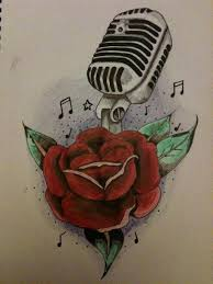 mic and rose tattoo design by bedlamart on deviantart