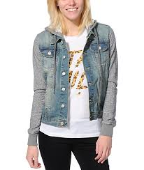 jean sweater jacket thread supply grey light wash hooded denim jacket zumiez