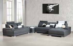 Grey Leather Sectional Sofa Contemporary Grey Leather Sectional Sofa W Ottoman