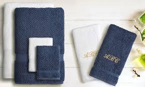6 monogrammed towel sets linum towels groupon