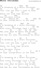 christmas carol song lyrics with chords for white christmas