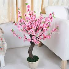 artificial small cherry blossom tree with pot for indoor