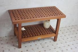 solid teak grate pattern rigid shower seat grate shower bench with shelf 30