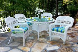 White Outdoor Dining Chairs Portside 5 Piece Wicker Dining Set White Outdoor Dining Sets White