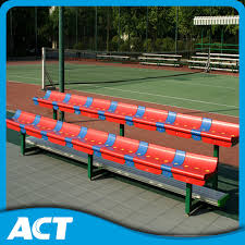 Portable Sports Bench China 2 Row Portable Gym Bleacher Sports Bench With Plastic