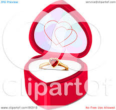 wedding ring in a box royalty free rf clipart illustration of a ruby heart engagement