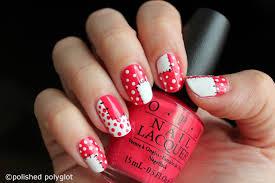 nail art coral u0026 white patchwork nails polished polyglot