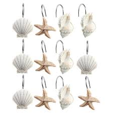 seashell shower curtain hooks decorative seashell shower curtain