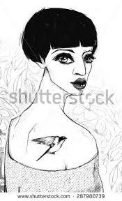 drawing of bob hair sugar skull lady day dead dia stock vector 188468993 shutterstock