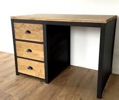 bureau en bois bureau style loft en bois et acier 3 tiroirs meubles et