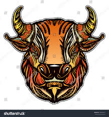 bull head color tattoo tshirt design stock vector 748603477