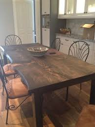 Urban Dining Room Table - reclaimed spruce live edge slab kitchen table traditional