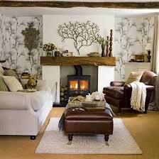 Living Room Decor With Brown Leather Sofa Interior Country Living Room Wall Decor Features White Large Sofa