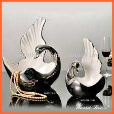 Ceramic Home Decor Nhtc738 1 2 Ws White And Silver Ceramic Swan Show Pieces For Home