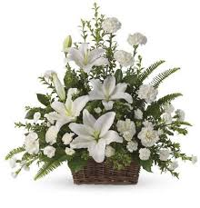 sympathy basket peaceful white lilies basket kremp