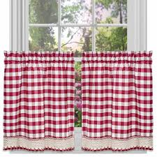 buffalo check kitchen curtains set of 2 walmart com
