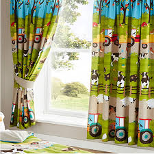 Jungle Curtains For Nursery Farmyard Animal Curtains 66 X 72 Inch Tractors Sheep Cows And