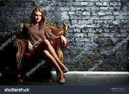 High Sitting Chair Gorgeous Sitting Vintage Chair Presenting Stock Photo