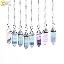 natural gemstone necklace images Csja fluorite necklace pendant natural gem stone quartz bullet jpg