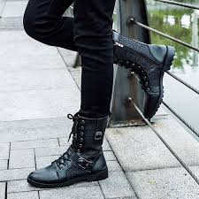 fashion motorcycle boots autumn punk martin boots men fashion pu leather lace up motorcycle