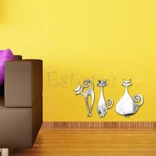 online get cheap mirror cat wall art stickers home decor