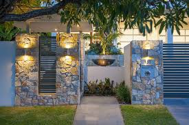 designer letterbox with fountain entry contemporary and lighted