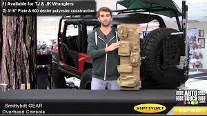 jeep tailgate storage smittybilt jeep wrangler g e a r overhead console tj jk youtube