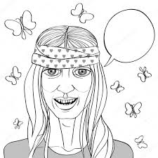 hippie van drawing hippie portret tekenen u2014 stockfoto richcat 32517405