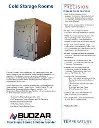 cold storage rooms budzar industries pdf catalogue technical